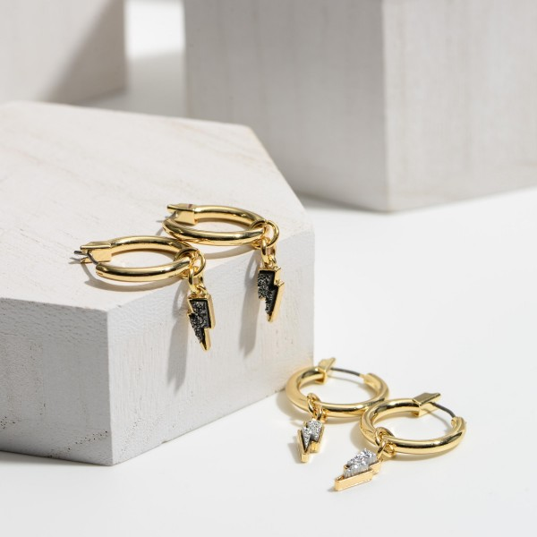 "Small Gold Hoop Earrings Featuring Druzy Lightning Bolt Accents.   - Approximately 1"" in Diameter"
