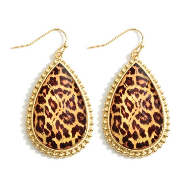 """Gold Teardrop Epoxy Earrings.   - Approximately 2"""" in Length"""
