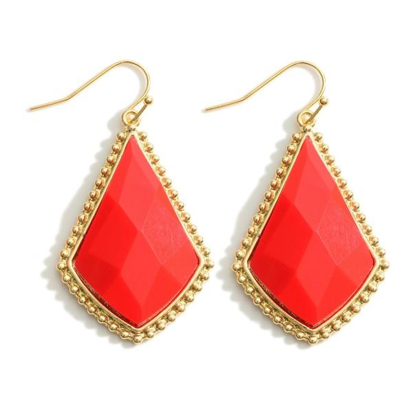 "Gold Drop Epoxy Earrings.   - Approximately 2"" in Length"