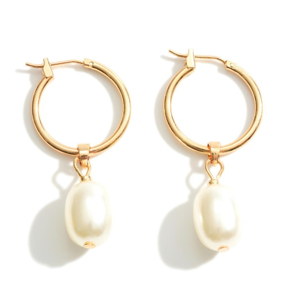 """Thin Gold Hoop Earrings Featuring Faux Pearl Accents.   - Approximately 1.5"""" in Length"""
