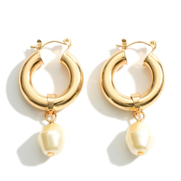 """Thick Gold Hoop Earrings Featuring Faux Pearl Accents.   - Approximately 1.5"""" in Length"""