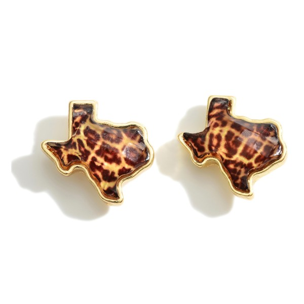 "Texas Shaped Leopard Print Stud Earrings.   - Approximately 1/2"" in Diameter"