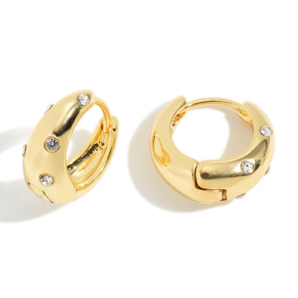 """Thick Metal Huggie Hoop Earrings Featuring CZ Accents.   - Approximately .75"""" Long"""