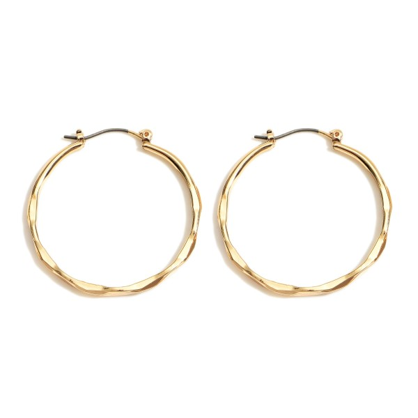 "Gold Hoop Earrings Featuring Textured Details.   - Approximately 1.5"" in Diameter"