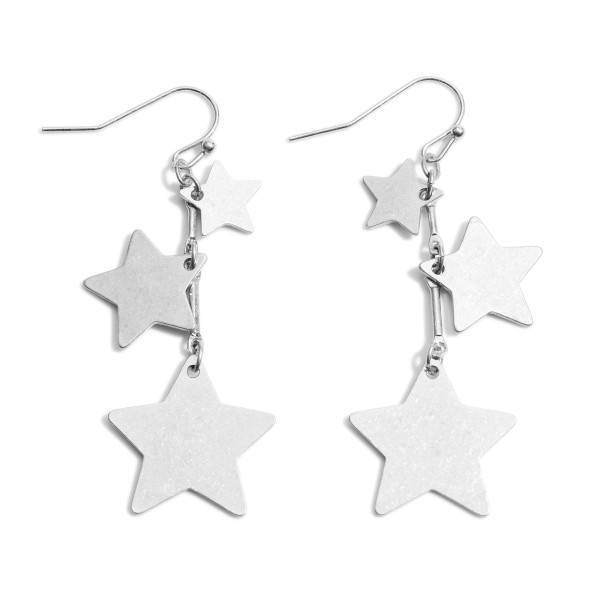 "Worn Metal Star Drop Earrings.   - Approximately 2.5"" in Length"