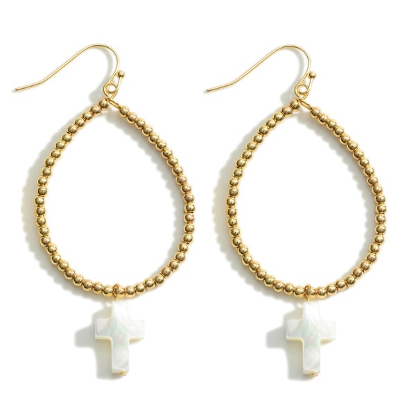 """Beaded Gold Teardrop Earrings Featuring Mother of Pearl Cross Accents.   - Approximately 2.5"""" in Length"""