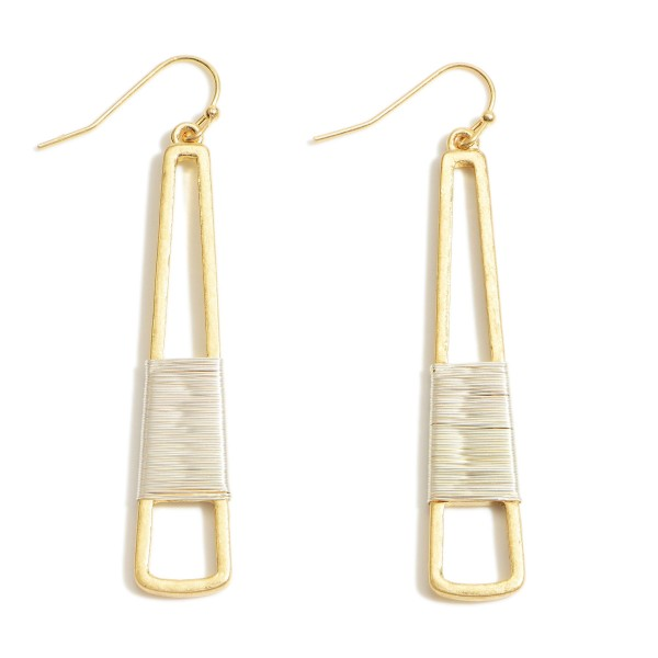 "Two-Tone Metal Drop Earrings.   - Approximately 2.5"" Long"