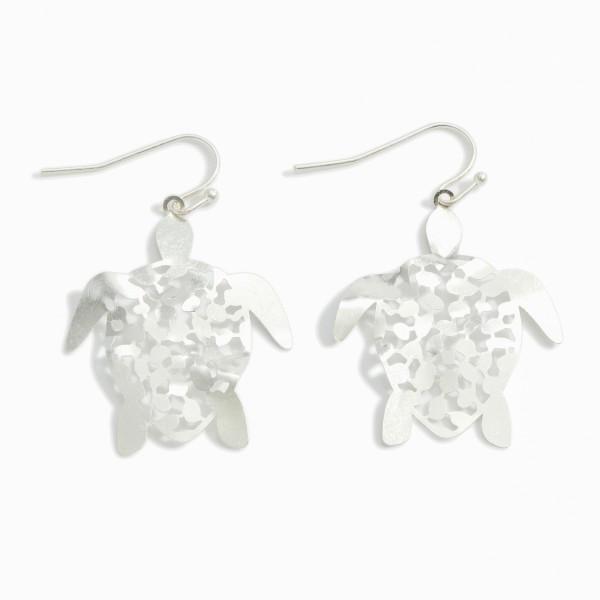 """Filigree Sea Turtle Drop Earrings.   - Approximately 2"""" Long"""