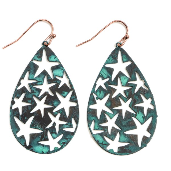 "Metal Teardrop Earrings Featuring Star Filigree Accents.   - Approximately 2"" Long"