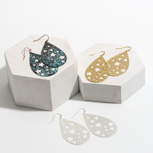 """Metal Teardrop Earrings Featuring Star Filigree Accents.   - Approximately 2"""" Long"""