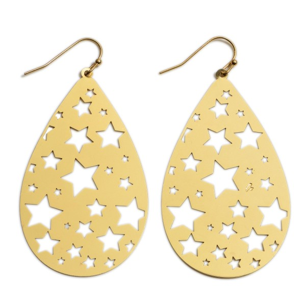 "Metal Teardrop Earrings Featuring Star Details.   - Approximately 2.5"" in Length"