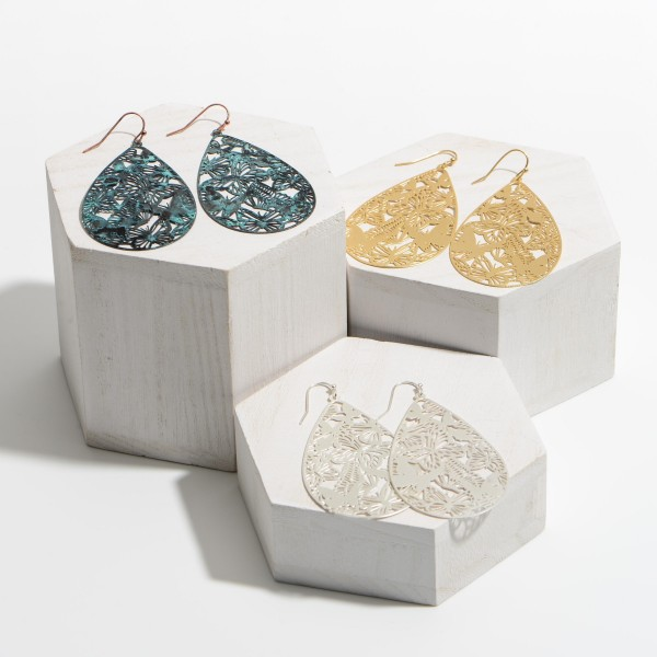 "Metal Teardrop Earrings Featuring Butterfly Filigree Accents.   - Approximately 3"" in Length"