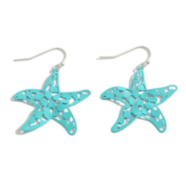 "Filigree Starfish Drop Earrings.   - Approximately 1.5"" Long"