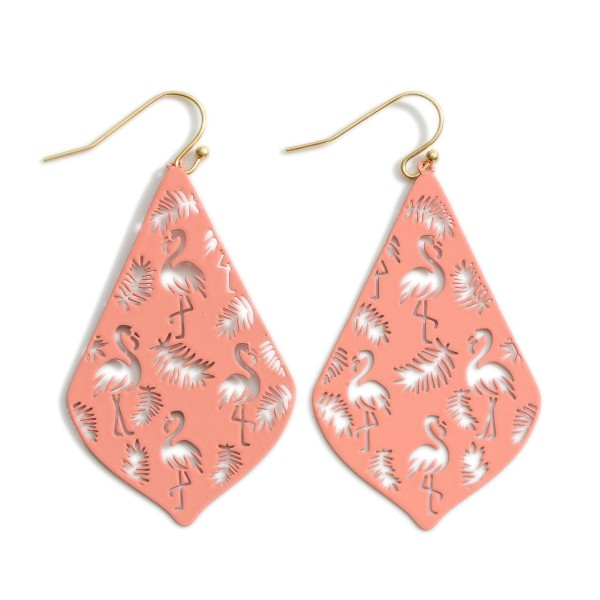 """Drop Earrings Featuring Tropical Themed Filigree Pattern.   - Approximately 2.5"""" in Length"""