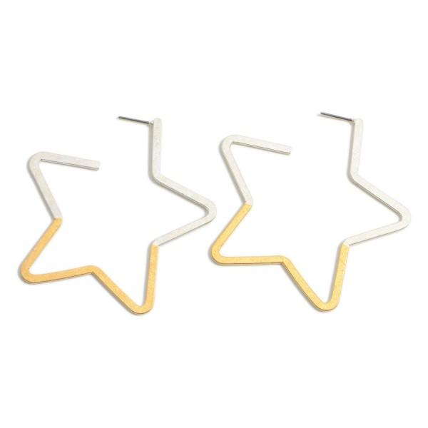 "Two-Tone Metal Star Earrings.   - Approximately 2.5"" Long"