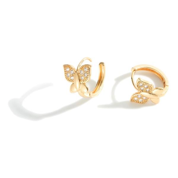 "Metal Huggie Hoop Earrings Featuring Butterfly Accents.   - Approximately 1/2"" in Diameter"