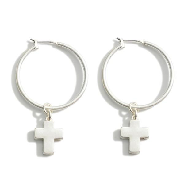 "Metal Hoop Earrings Featuring Cross Accents.   - Approximately 1.5"" in Diameter"