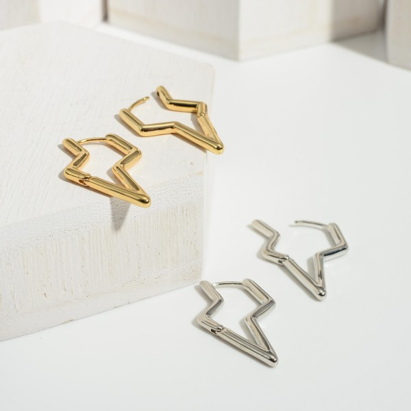 """Metal Lightning Bolt Earrings.   - Approximately 1.25"""" Long"""
