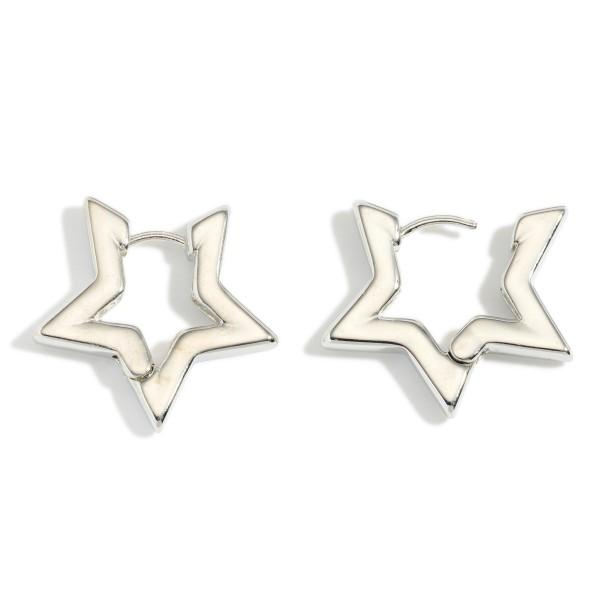 """Star Hoop Earrings.   - Approximately 1"""" in Diameter"""