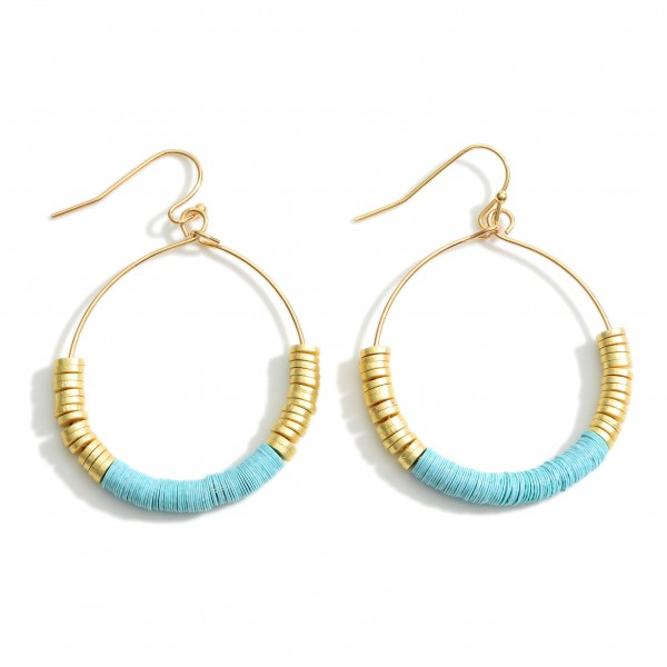 """Round Drop Earrings Featuring Heishi Bead Accents and Gold Details.   - Approximately 2"""" Long"""