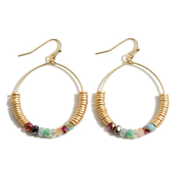 """Round Drop Earrings Featuring Iridescent and Heishi Bead Accents.   - Approximately 2"""" Long"""
