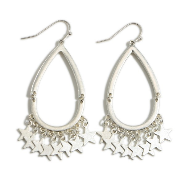 """Worn Metal Teardrop Earrings Featuring Star Accents.   - Approximately 2.5"""" Long"""