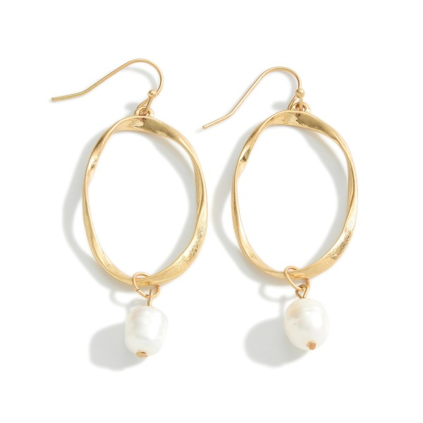 """Metal Drop Earrings Featuring Faux Pearl Accents.   - Approximately 2.5"""" Long"""