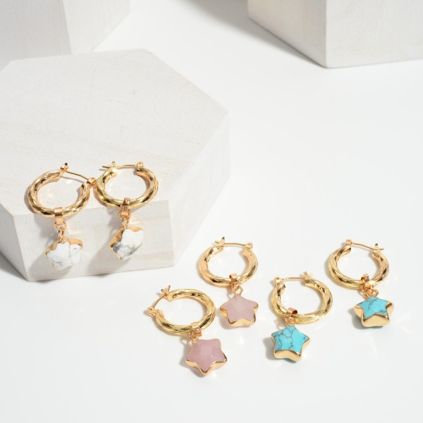 """Gold Hoop Earrings Featuring Natural Stone Star Accents.   - Approximately 1.5"""" Long"""