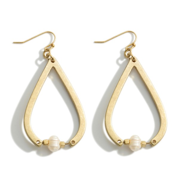 """Metal Teardrop Earrings Featuring Faux Pearl Accents.   - Approximately 2.5"""" in Length"""