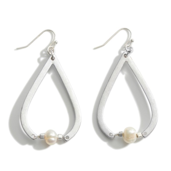"Metal Teardrop Earrings Featuring Faux Pearl Accents.   - Approximately 2.5"" in Length"