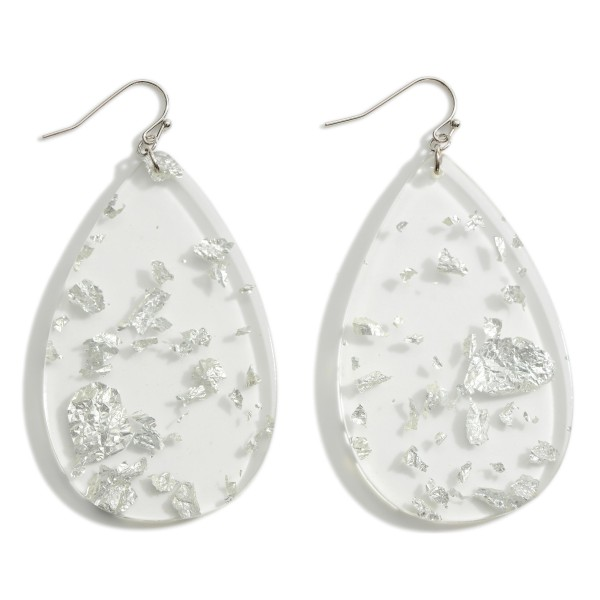 """Clear Resin Teardrop Earrings Featuring Silver Toned Flaked Accents.   - Approximately 3"""" in Length"""