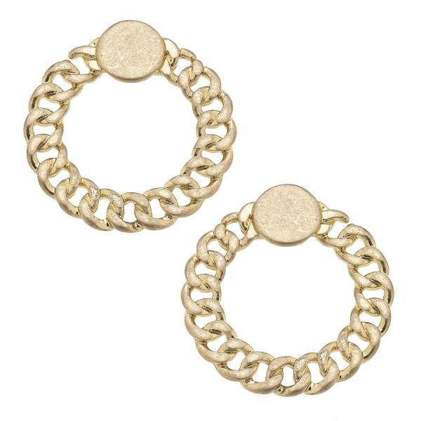 "Gold Chain Link Door Knocker Earrings.   - Approximately 1"" in Diameter"