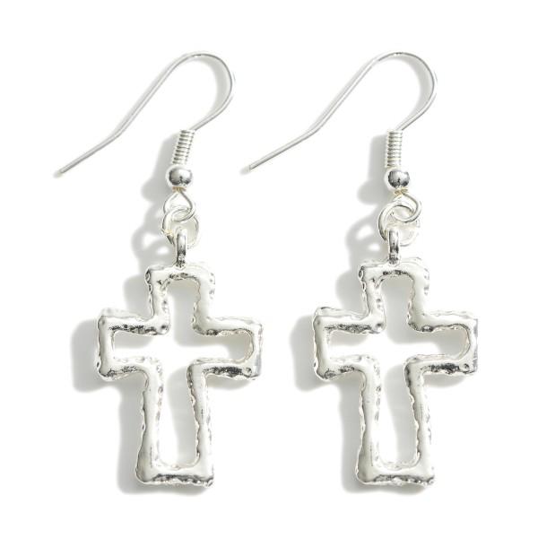 """Silver Cross Drop Earrings.   - Approximately 2"""" Long"""