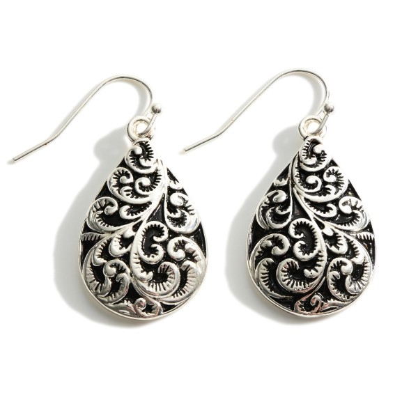 """Silver Teardrop Earrings Featuring Engraved Accents.   - Approximately 1 1/2"""" Long"""