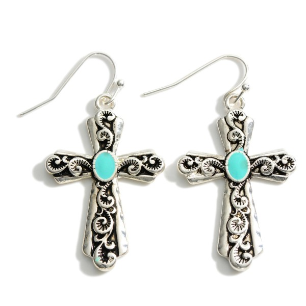 """Silver Cross Drop Earring Featuring Turquoise Accents and Engraved Details.   - Approximately 2"""" Long"""
