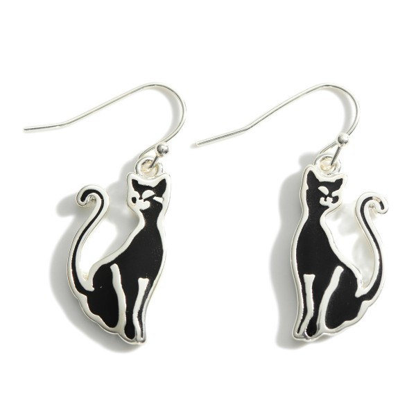 """Silver and Black Cat Drop Earrings.   - Approximately 1.5"""" Long"""