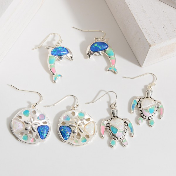 """Sand Dollar Drop Earrings Featuring Iridescent Accents.   - Approximately 1.5"""" Long"""