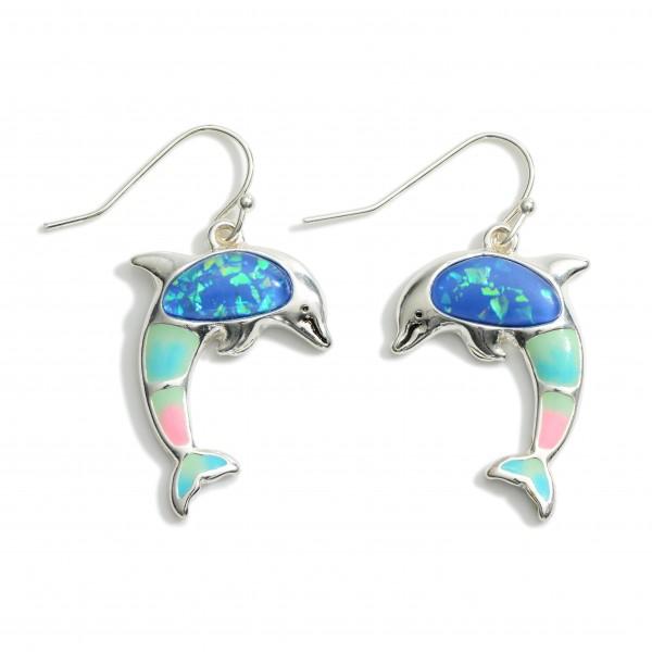 "Dolphin Drop Earrings.   - Approximately 1.5"" Long"
