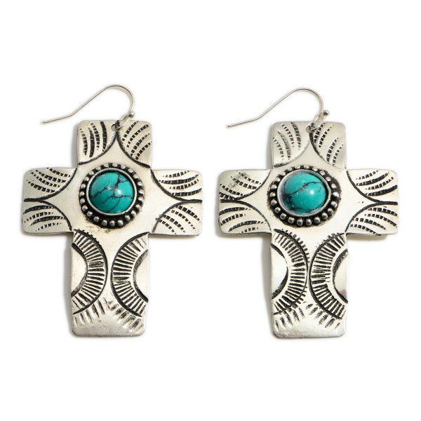 """Silver Drop Cross Earrings Featuring Turquoise Accents.   - Approximately 2.25"""" Long"""