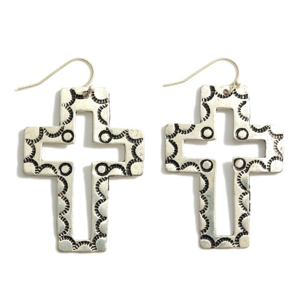"""Silver Cross Drop Earrings Featuring Engraved Details.   - Approximately 2.5"""" Long"""
