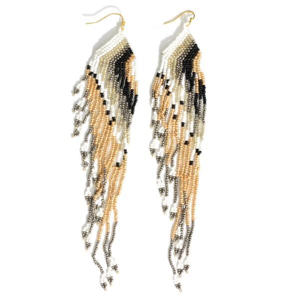 "Long Beaded Multi-Color Earrings.   - Approximately 6.5"" Long"