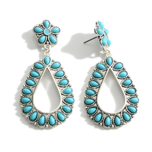 """Silver Drop Earrings Featuring Turquoise Accents.   - Approximately 2.5"""" Long"""