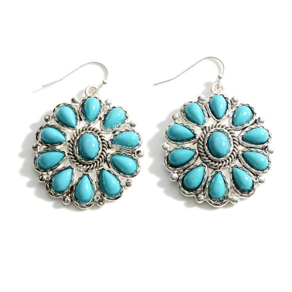 """Silver Drop Earrings Featuring Turquoise Accents.   - Approximately 2"""" Long"""