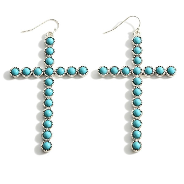 """Silver Cross Drop Earrings Featuring Turquoise Accents.   - Approximately 3.5"""" Long"""