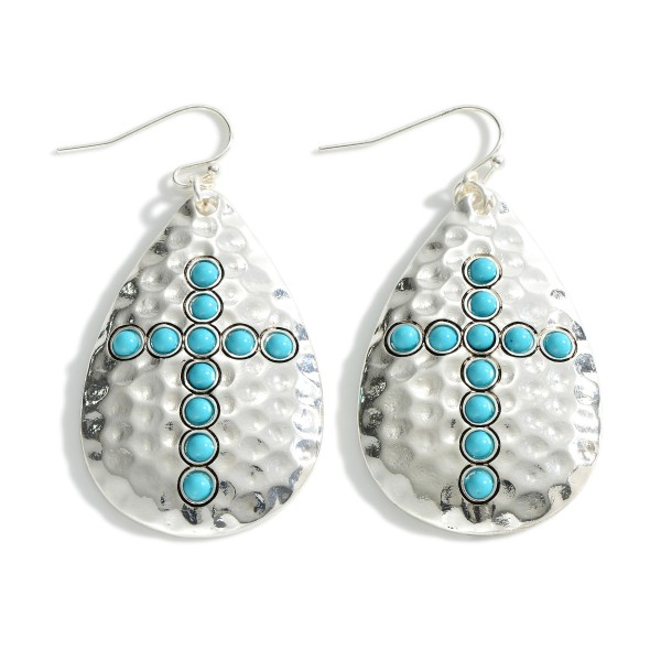 """Hammered Silver Teardrop Earrings Featuring Turquoise Cross Accents.   - Approximately 2"""" Long"""