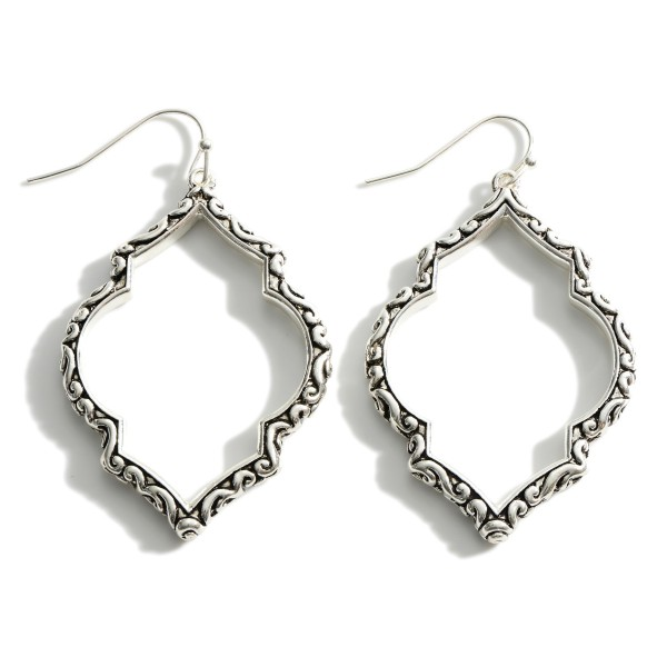 """Silver Drop Earrings Featuring Engraved Accents.   - Approximately 2.5"""" Long"""