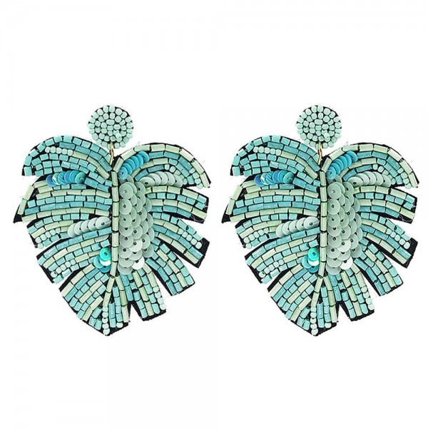 """Beaded Tropical Leaf Drop Earrings Featuring Sequin Details.   - Approximately 3"""" Long"""