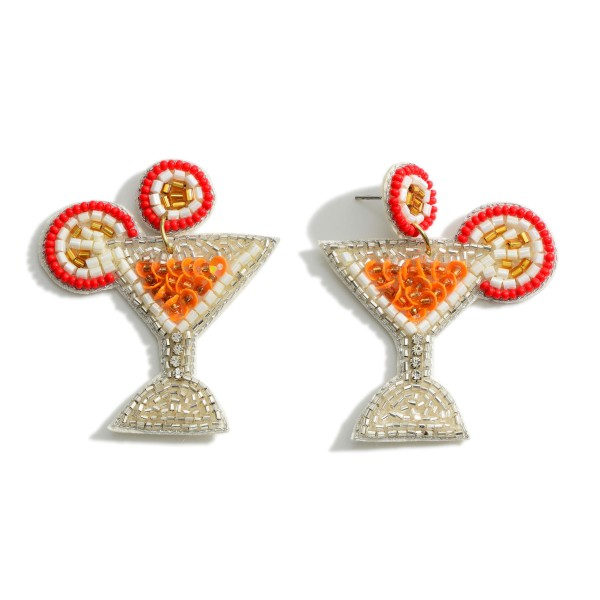 """Beaded Tropical Drink Drop Earrings Featuring Sequin Accents.   - Approximately 2"""" Long"""