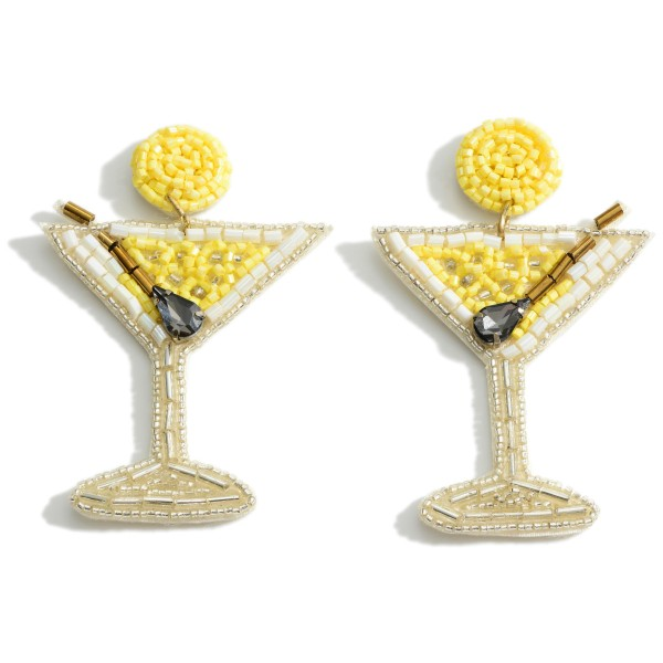 "Beaded Martini Drop Earrings.   - Approximately 2.5"" Long"