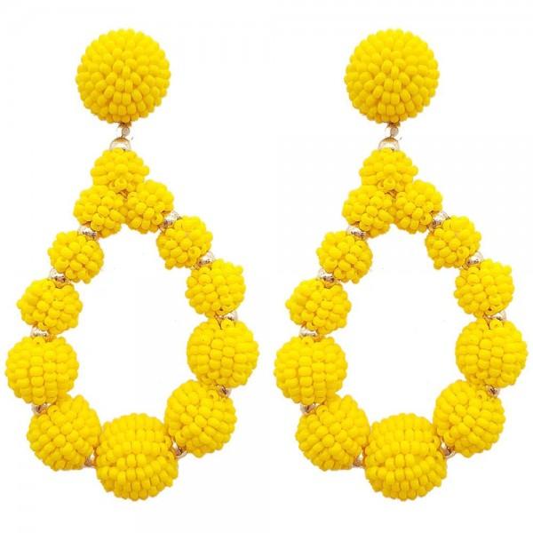 "Beaded Teardrop Earrings Featuring Gold Details.   - Approximately 3"" Long"